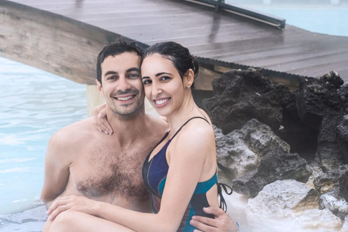 Couple taking a bath in Blue Lagoon Spa, Iceland