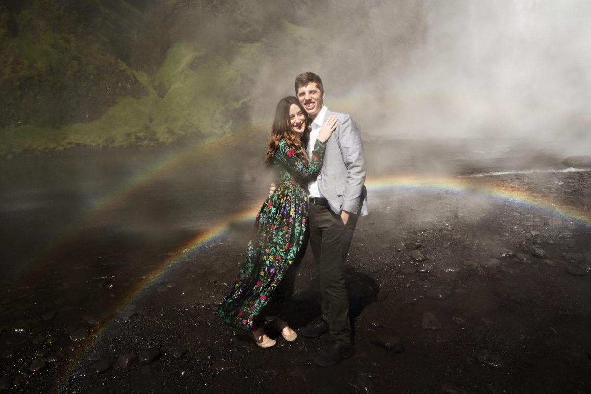 Couple photoshoot with Icelandic waterfall