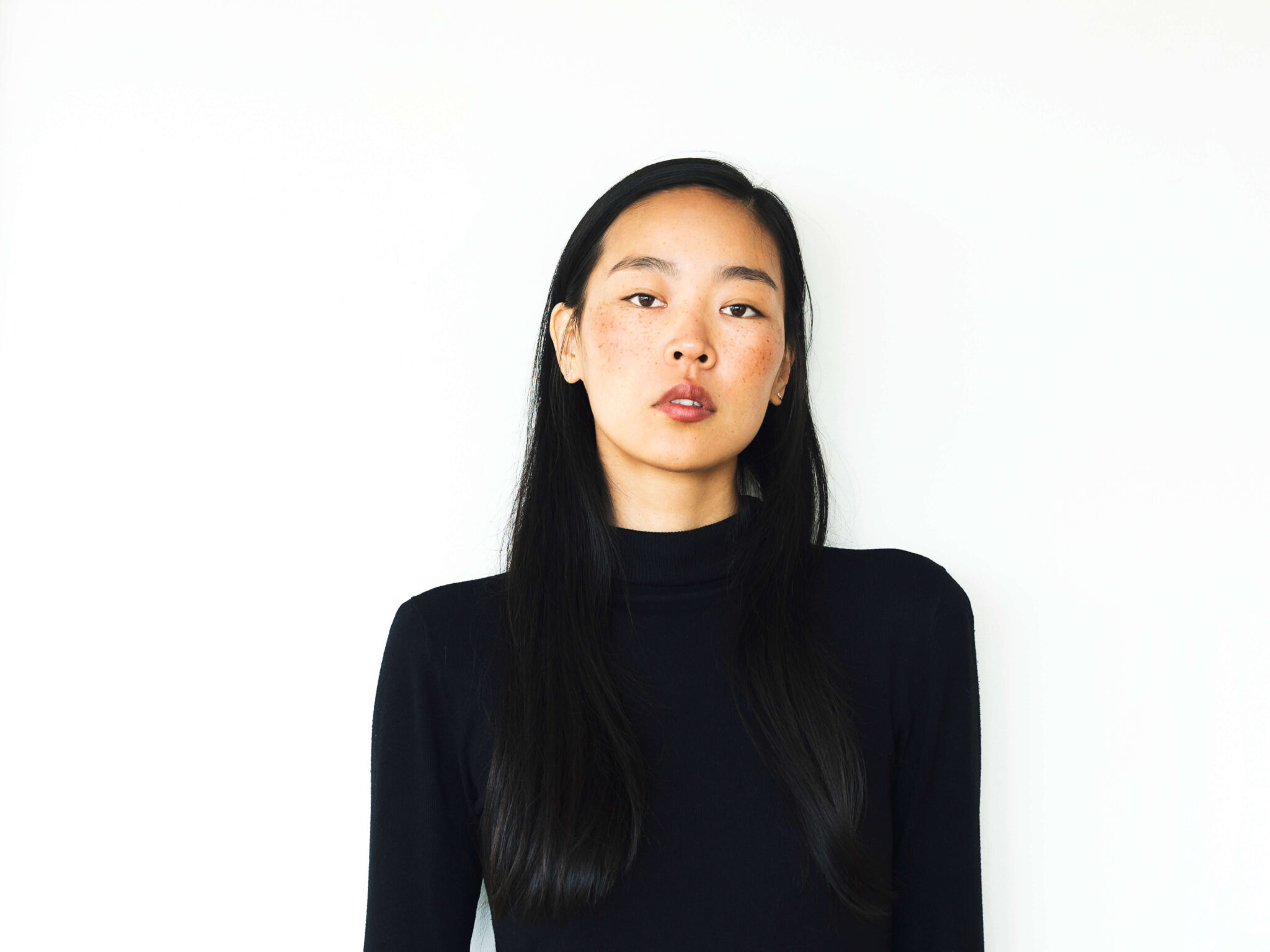 model test on white wall